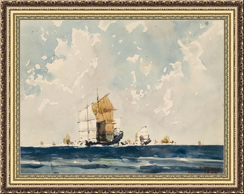 Джонки на море.  Работа ученика Георгия Смирнова Luis Luciano Demee.  Карандаш и бумага, акварель - 1945